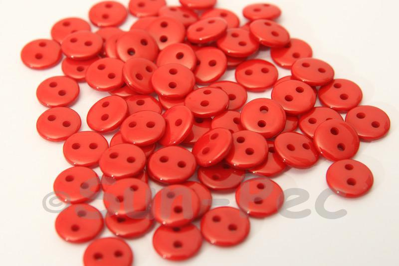 Red #1 9mm Standard Round 2 Eye Hole Buttons 50pcs - 200pcs