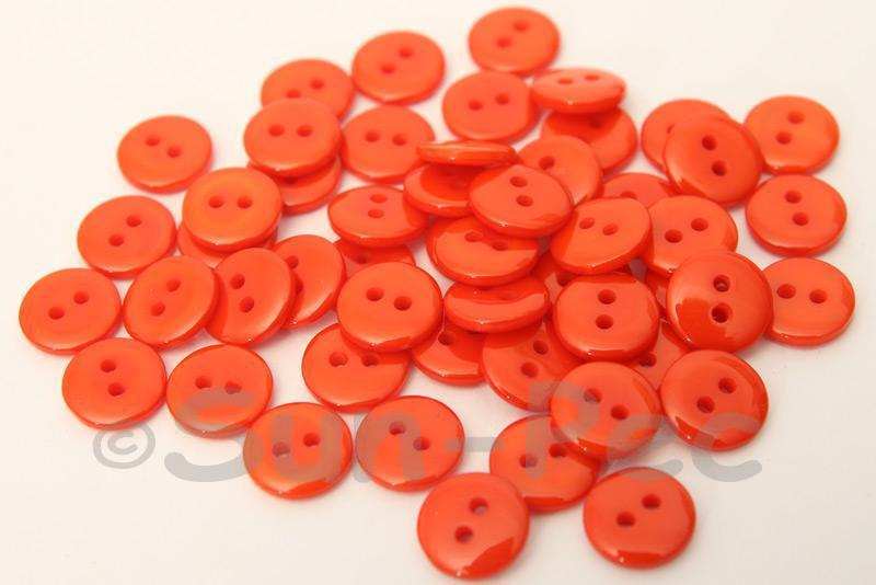 Orange 10mm Standard Round 2 Eye Hole Buttons 50pcs - 200pcs