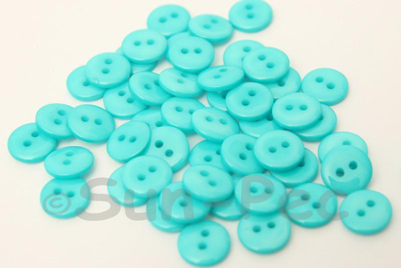 Sky Blue #1 10mm Standard Round 2 Eye Hole Buttons 50pcs - 200pcs