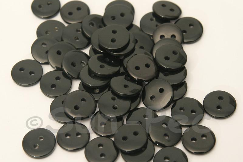 Black 11.5mm Standard Round 2 Eye Hole Buttons 50pcs - 100pcs