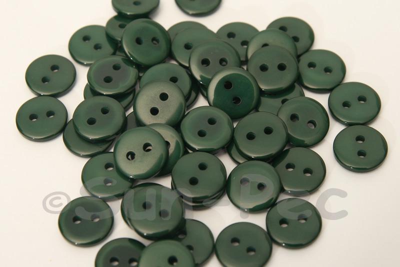 Dark Green #1 11.5mm Standard Round 2 Eye Hole Buttons 50pcs - 100pcs