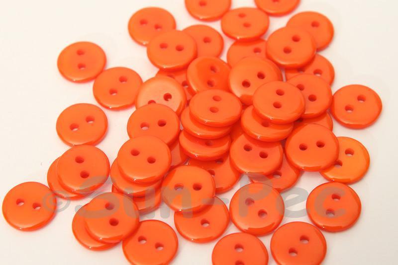 Orange 11.5mm Standard Round 2 Eye Hole Buttons 50pcs - 100pcs