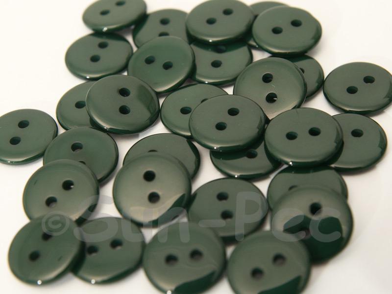 Dark Green 12.5mm Standard Round 2 Eye Hole Buttons 50pcs - 100pcs