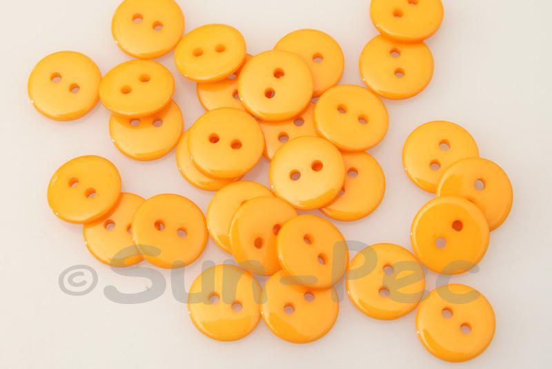 Light Orange 12.5mm Standard Round 2 Eye Hole Buttons 50pcs - 100pcs