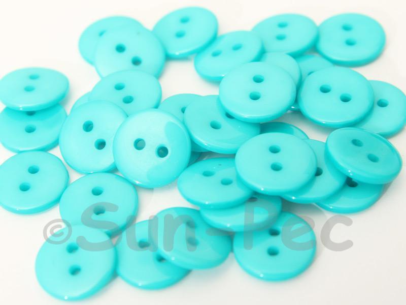 Sky Blue #1 12.5mm Standard Round 2 Eye Hole Buttons 50pcs - 100pcs