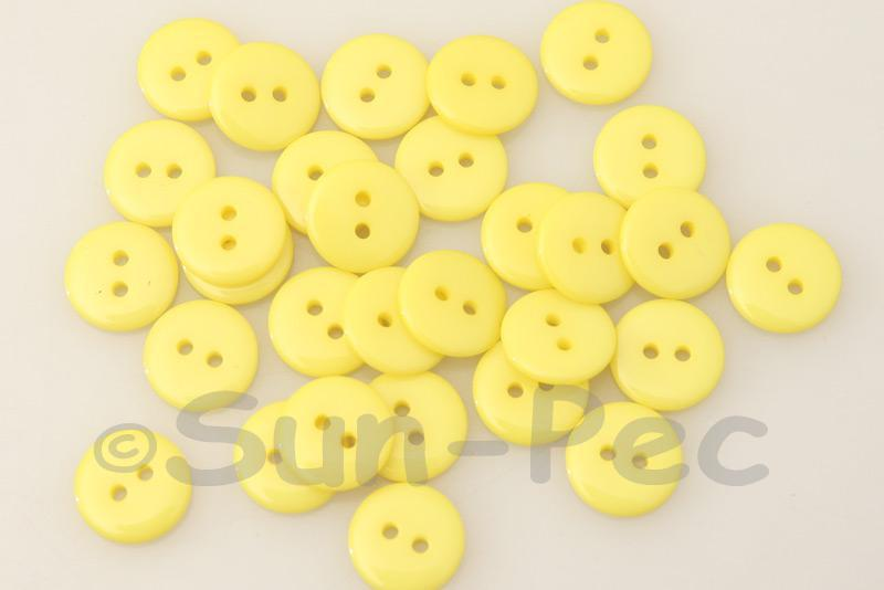 Yellow 12.5mm Standard Round 2 Eye Hole Buttons 50pcs - 100pcs