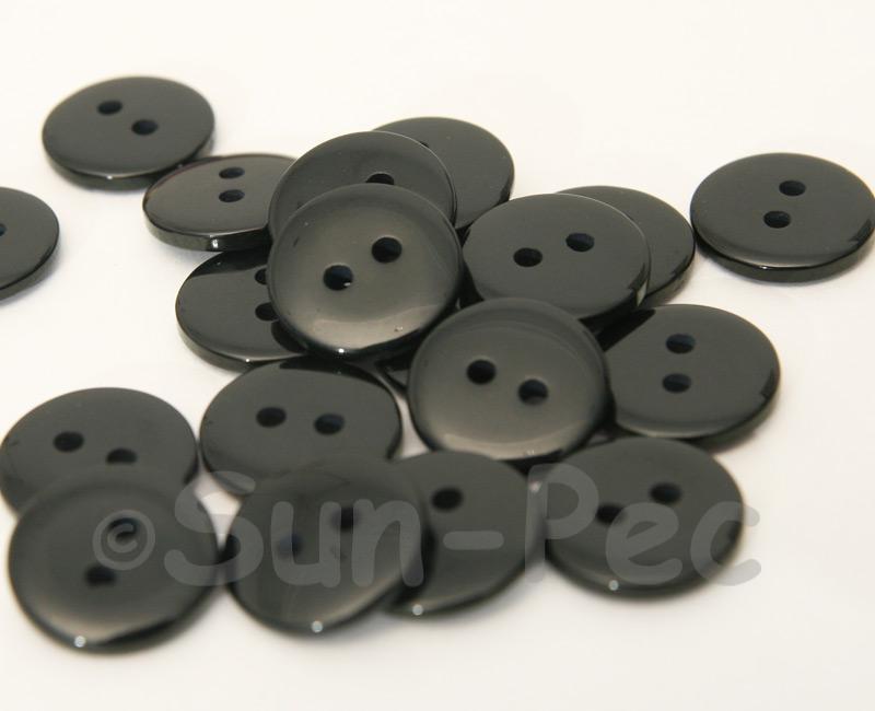 Black 15mm Standard Round 2 Eye Hole Buttons 20pcs - 50pcs