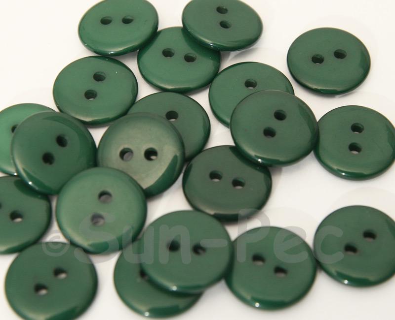 Dark Green 15mm Standard Round 2 Eye Hole Buttons 20pcs - 50pcs