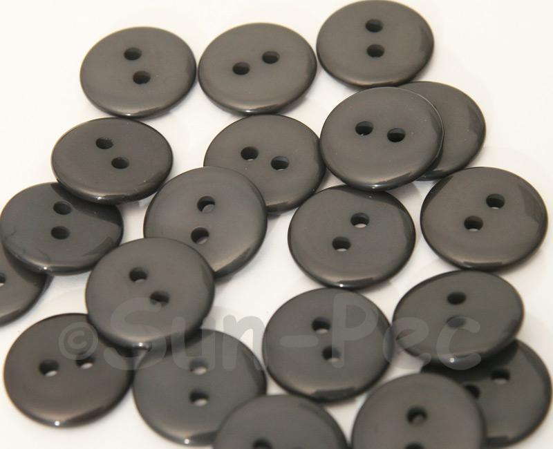 Dark Gray 15mm Standard Round 2 Eye Hole Buttons 20pcs - 50pcs