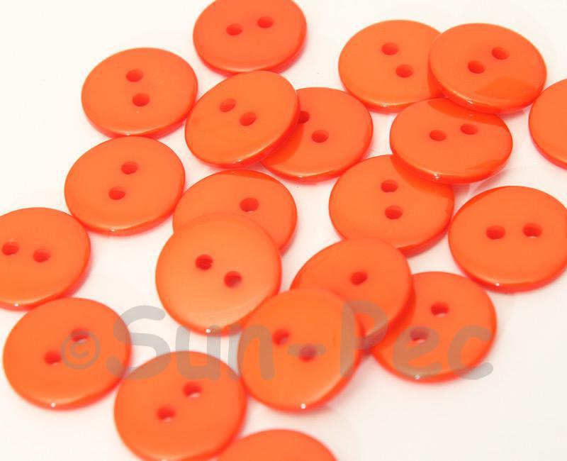Orange 15mm Standard Round 2 Eye Hole Buttons 20pcs - 50pcs