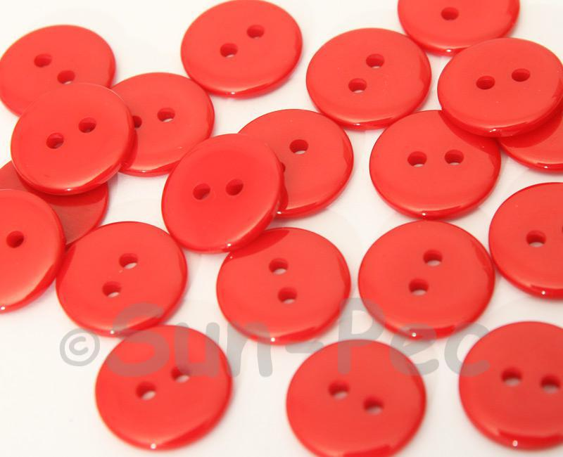 Red 15mm Standard Round 2 Eye Hole Buttons 20pcs - 50pcs
