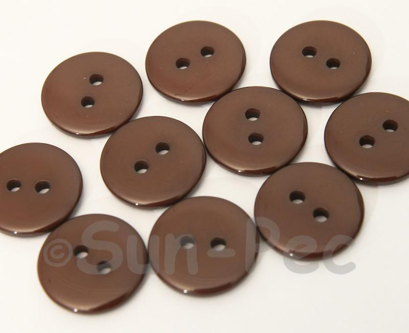 Coffee 18mm Standard Round 2 Eye Hole Buttons 20pcs - 50pcs