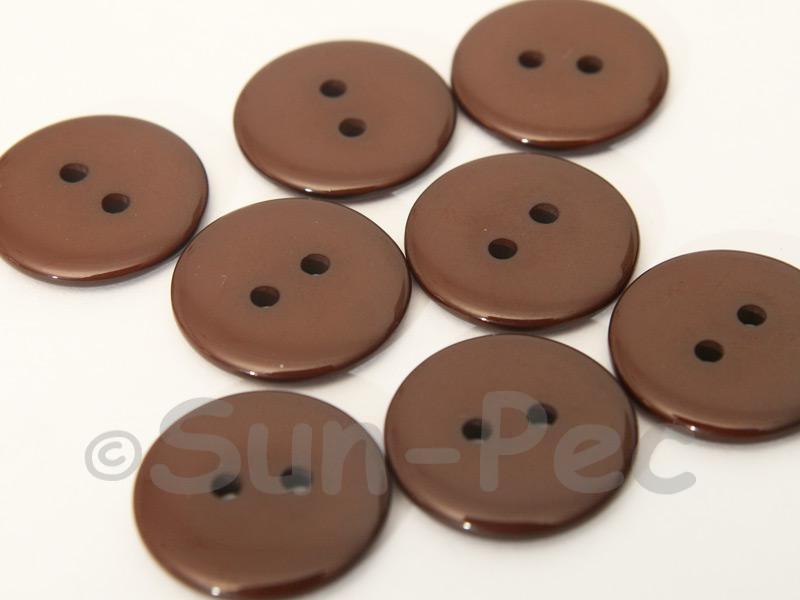 Coffee 20mm Standard Round 2 Eye Hole Buttons 20pcs - 50pcs