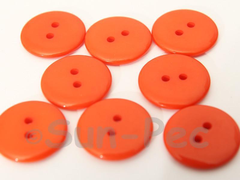 Orange #1 20mm Standard Round 2 Eye Hole Buttons 20pcs - 50pcs