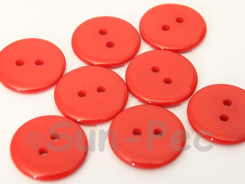 Red 20mm Standard Round 2 Eye Hole Buttons 20pcs - 50pcs