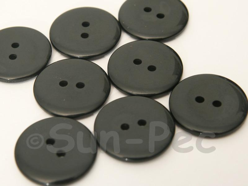 Black 23mm Standard Round 2 Eye Hole Buttons 20pcs - 50pcs