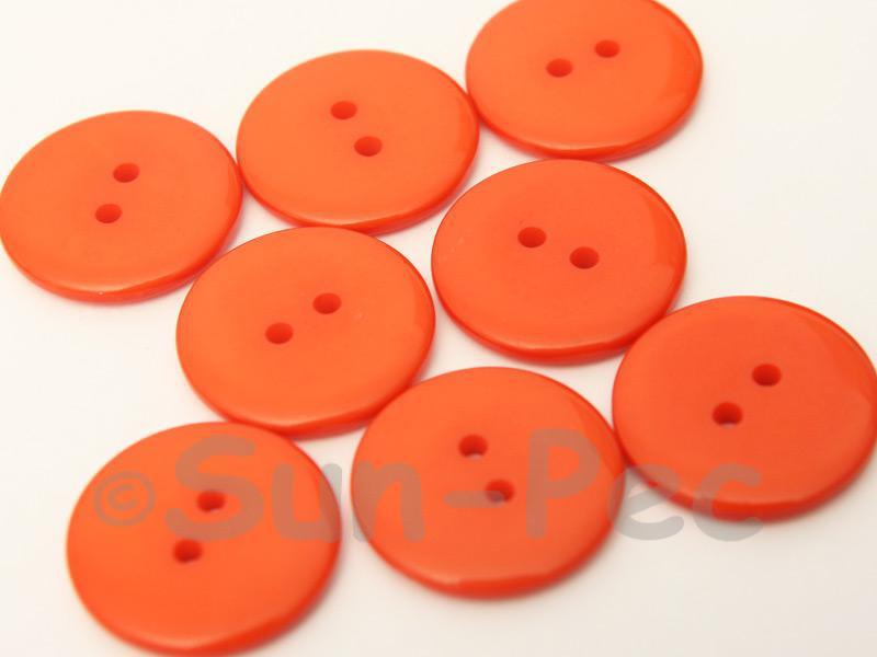 Orange #1 23mm Standard Round 2 Eye Hole Buttons 20pcs - 50pcs