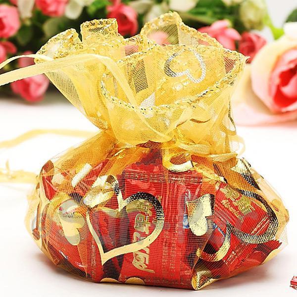 Gold Hearts 25cm (16cm) Sheer Ciruclar Ruffle Bags for Gifts/Favours 10pcs - 50pcs