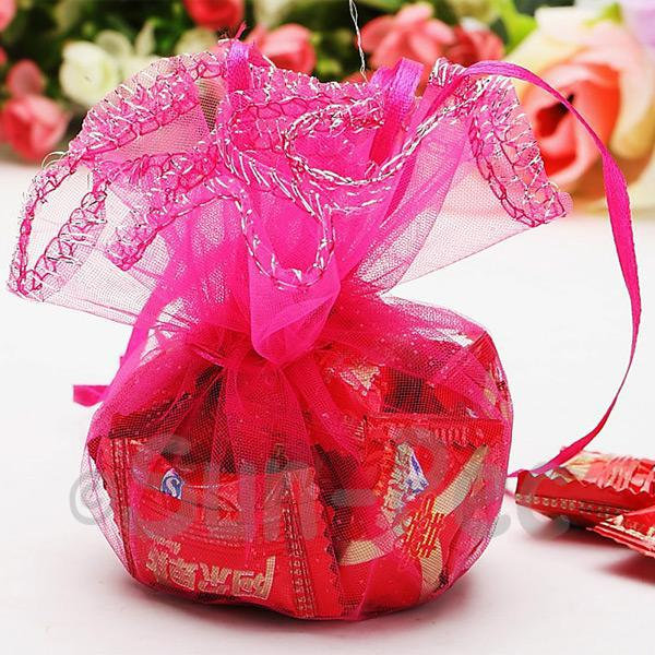 Hot Pink 25cm (16cm) Sheer Ciruclar Ruffle Bags for Gifts/Favours 10pcs - 50pcs