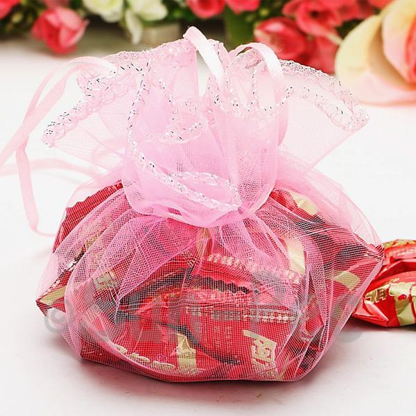 Light Pink 25cm (16cm) Sheer Ciruclar Ruffle Bags for Gifts/Favours 10pcs - 50pcs