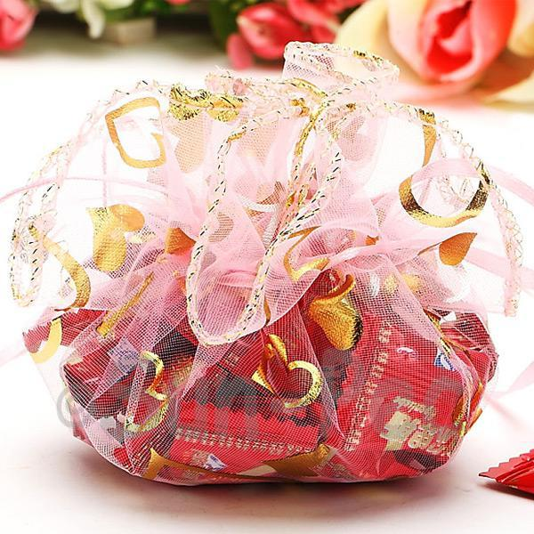 Light Pink Hearts 25cm (16cm) Sheer Ciruclar Ruffle Bags for Gifts/Favours 10pcs - 50pcs