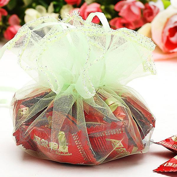 Pale Green 25cm (16cm) Sheer Ciruclar Ruffle Bags for Gifts/Favours 10pcs - 50pcs