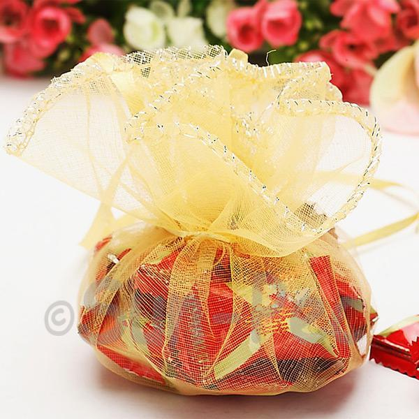Pale Gold 25cm (16cm) Sheer Ciruclar Ruffle Bags for Gifts/Favours 10pcs - 50pcs