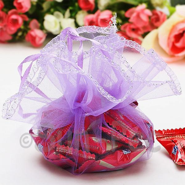 Purple 25cm (16cm) Sheer Ciruclar Ruffle Bags for Gifts/Favours 10pcs - 50pcs