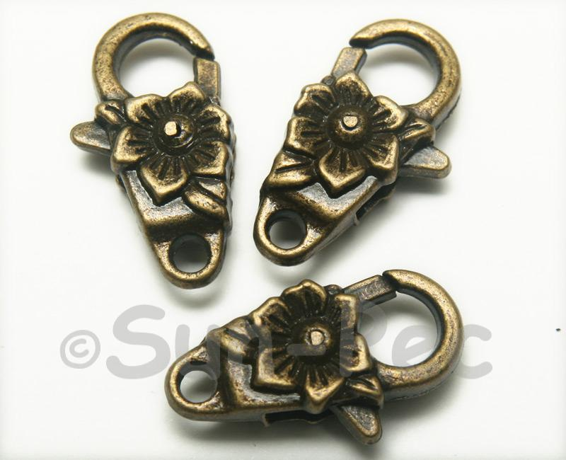 Flower - G Retro Brass Labster Clasp Jewelery Connector 2pcs - 5pcs