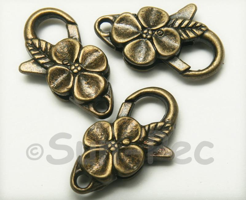 Flower - I Retro Brass Labster Clasp Jewelery Connector 2pcs - 5pcs