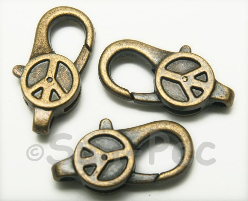 Peace - N Retro Brass Labster Clasp Jewelery Connector 2pcs - 5pcs