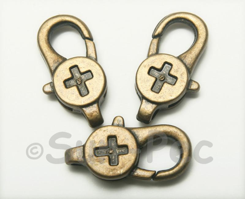 Cross - O Retro Brass Labster Clasp Jewelery Connector 2pcs - 5pcs