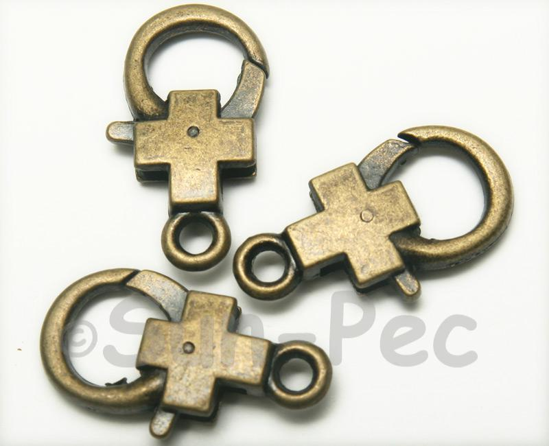 Cross - P Retro Brass Labster Clasp Jewelery Connector 2pcs - 5pcs