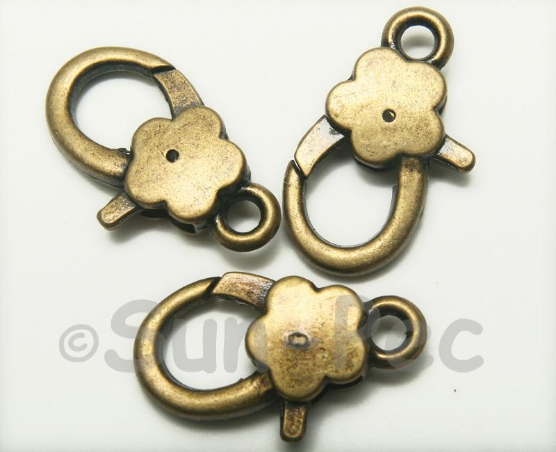 Flower - Q Retro Brass Labster Clasp Jewelery Connector 2pcs - 5pcs