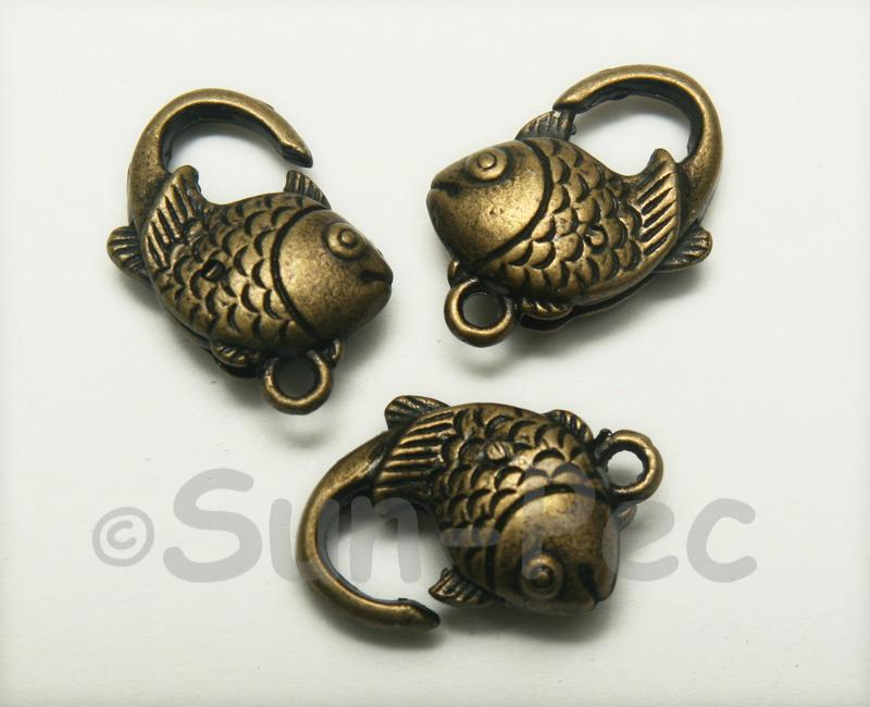 Fish - T Retro Brass Labster Clasp Jewelery Connector 2pcs - 5pcs