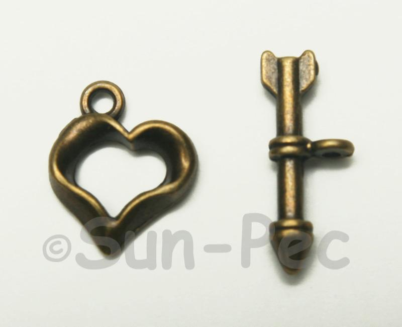 Heart - D Retro Brass OT Buckle Clasp Jewelery Connector 2pcs - 5pcs