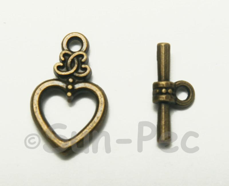 Heart - E Retro Brass OT Buckle Clasp Jewelery Connector 2pcs - 5pcs