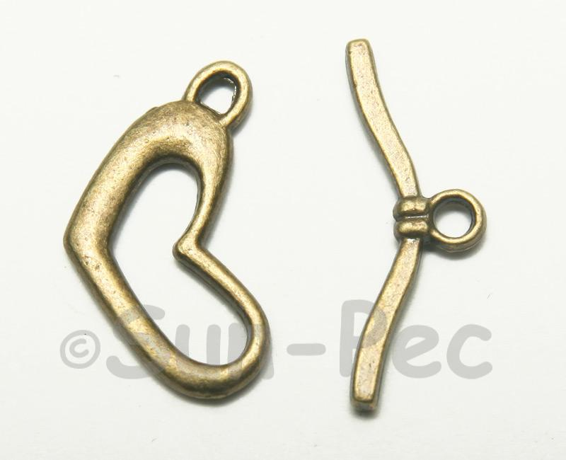 Heart - G Retro Brass OT Buckle Clasp Jewelery Connector 2pcs - 10pcs