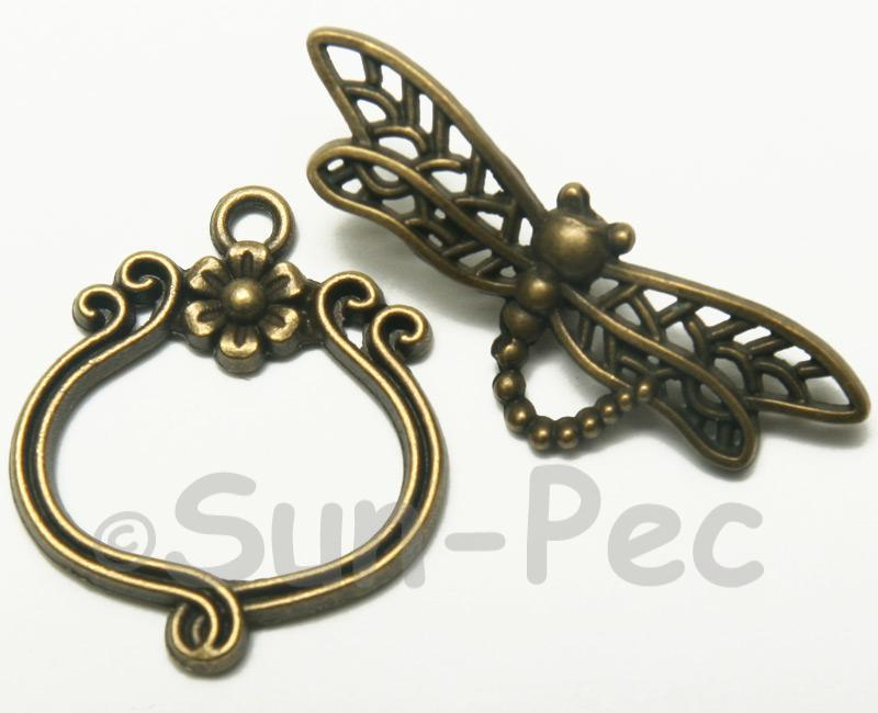 Dragonfly - J Retro Brass OT Buckle Clasp Jewelery Connector 2pcs - 5pcs