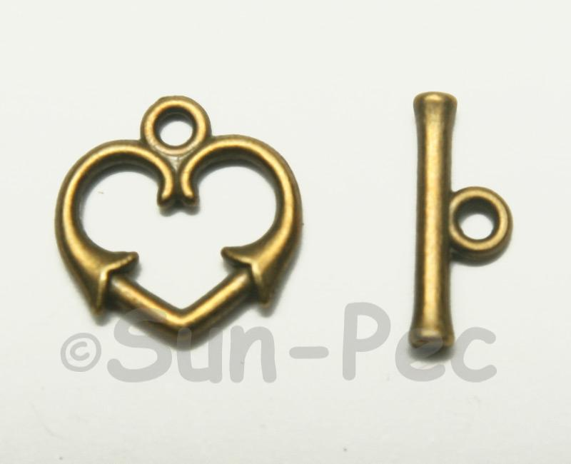 Heart - L Retro Brass OT Buckle Clasp Jewelery Connector 2pcs - 10pcs