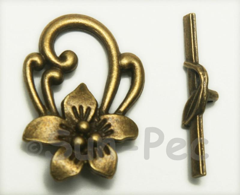 Flower - Q Retro Brass OT Buckle Clasp Jewelery Connector 2pcs - 5pcs