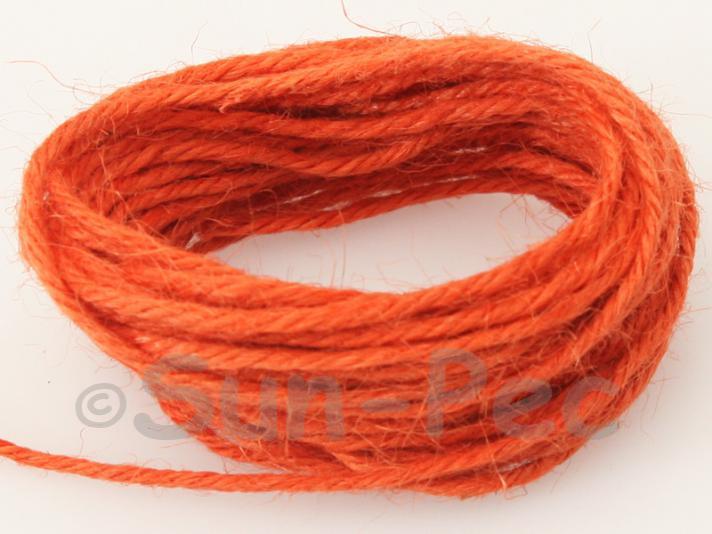 Orange 2mm Coarse Twisted Hemp Jute Cord 5m - 50m