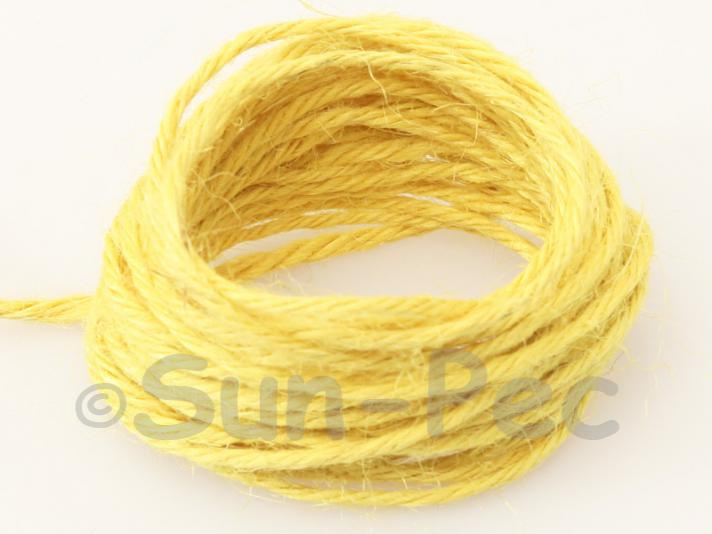 Yellow 2mm Coarse Twisted Hemp Jute Cord 5m - 20m