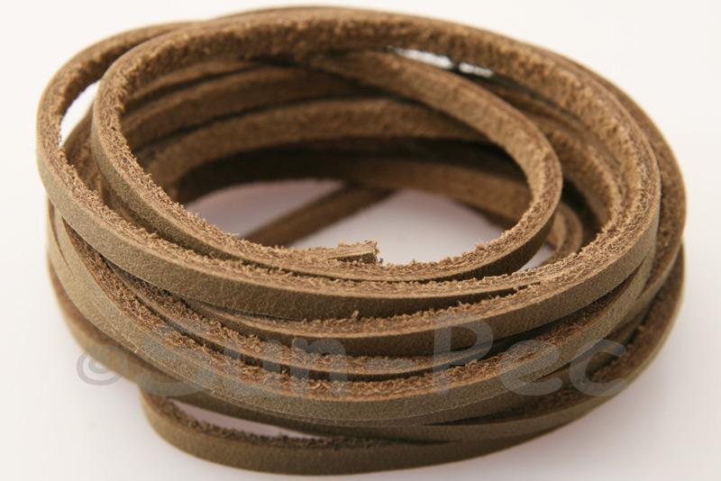 Light Brown 4mm x 2.5mm Flat Genuine Hide Leather Thong Cord 1 meter 1pcs