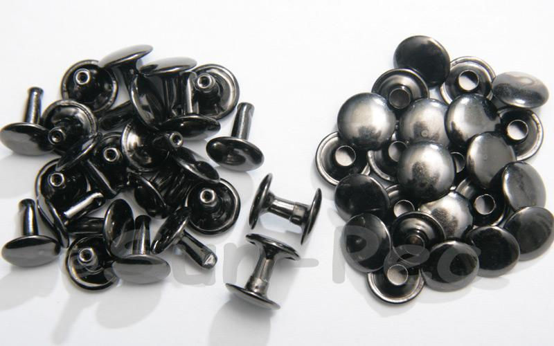 Gunmetal Black 10 x 10mm Flat Round Dome Rivet & Burr Sets 10pcs - 100pcs