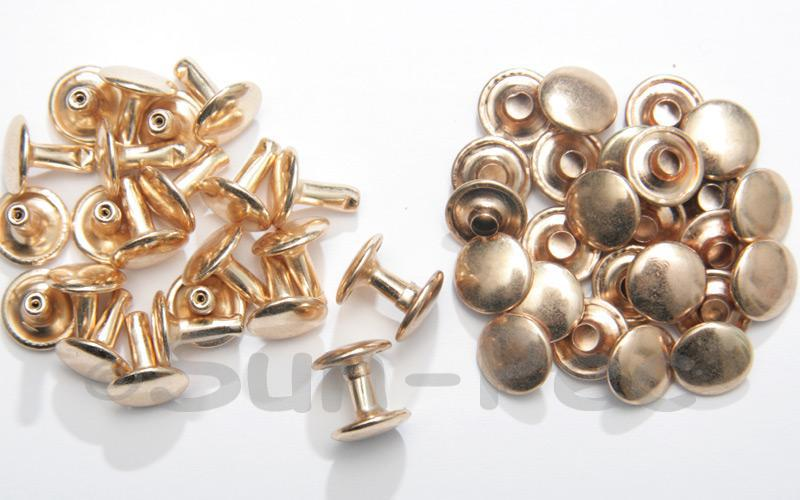 Soft Gold 10 x 10mm Flat Round Dome Rivet & Burr Sets 10pcs - 100pcs