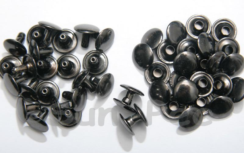 Gunmetal Black 10 x 8mm Flat Round Dome Rivet & Burr Sets 10pcs - 100pcs