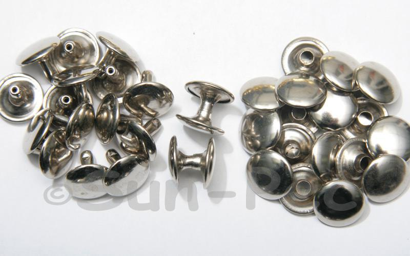 Silver 12 x 10mm Flat Round Dome Rivet & Burr Sets 10pcs - 100pcs