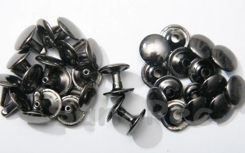 Gunmetal Black 12 x 12mm Flat Round Dome Rivet & Burr Sets 10pcs - 100pcs