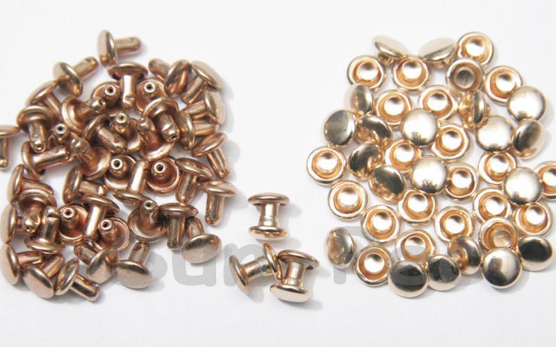 Soft Gold 6 x 6mm Flat Round Dome Rivet & Burr Sets 10pcs - 100pcs